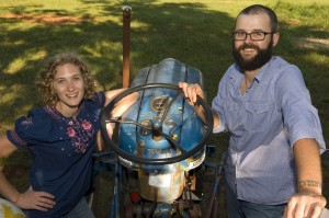 Joe and Dani Rowland at their 18-acre farm in Gold Hill, NC